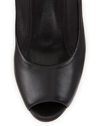 Gianvito Rossi Stretch Leather Peep-Toe Bootie - Lyst