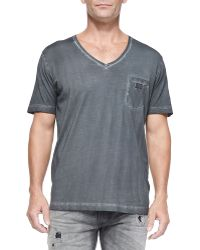 Diesel Pigment Dyed V-Neck Tee - Lyst