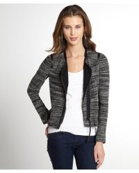 Rebecca Taylor Grey And Black Wool Blend Boucle Jacket - Lyst