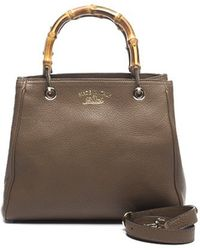 Gucci Taupe Leather Bamboo Shopper Tote Bag - Lyst