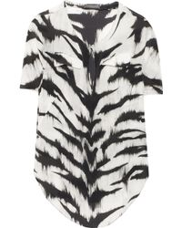 Alexander McQueen Animalprint Silk Top - Lyst