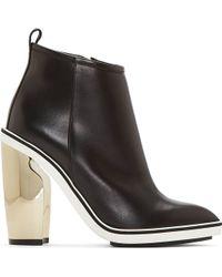 Nicholas Kirkwood Black Leather Metallic Platino Heel Boots - Lyst
