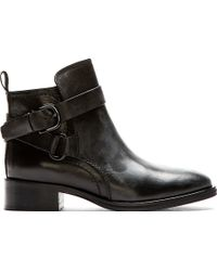 McQ by Alexander McQueen Black Leather Bridle Ankle Boots - Lyst