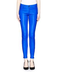 J Brand Zip Cuff Lamb Leather Skinny Pants - Lyst