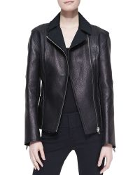 Alexander Wang Fitted Leather Biker Jacket - Lyst