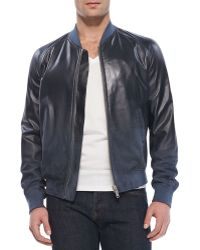 Alexander McQueen Degrade Leather Bomber Jacket - Lyst