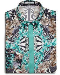 Versace Splatter Print Silk Dress Shirt/Teal multicolor - Lyst