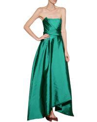 Alberta Ferretti Satin Strapless Gown - Lyst