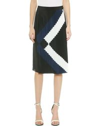 Tibi Maritime Border Pleated Skirt - Black Multi - Lyst