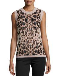 Carolina Herrera Animal Jacquard Knit Cashmere Shell - Lyst