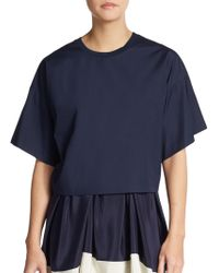 3.1 Phillip Lim Cropped Cotton Dropped Shoulder Top - Lyst