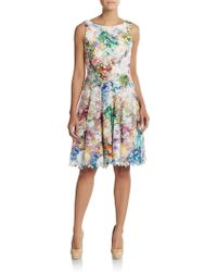 Vera Wang | Floral Print Cutout Fit-and-flare Dress | Lyst
