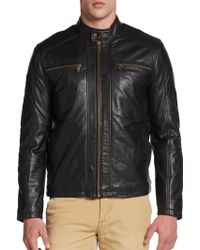 Marc New York By Andrew Marc Laser Leather Moto Jacket - Lyst