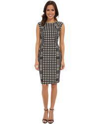 Donna Morgan Ponte Jewel Neck Body Con Dress W/ Side Panels - Lyst