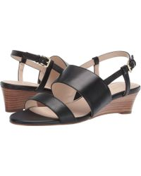 fb4721e8ffc Lyst - Cole Haan Cecily Grand Colorblock Wedge Thong Sandal in Blue