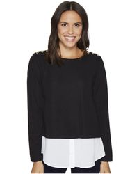 Calvin Klein - Textured Twofer Top With Buttons - Lyst