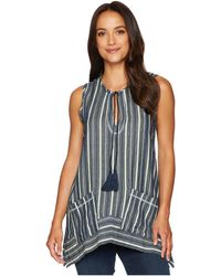 Dylan By True Grit - Foundry Indigo Stripe Sleeveless Top With Pockets - Lyst