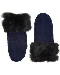 UGG - Fabric Mitten With Fur Trim - Lyst