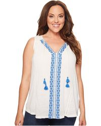 Lucky Brand - Plus Size Embroidered Center Front Top - Lyst