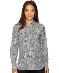 55d9409ed82 Lauren by Ralph Lauren - Silk Cotton Voile Long Sleeve Shirt (polo  Black soft