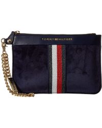 3cf63eaaa0 Lyst - Tommy Hilfiger Th Serif Signature - Snap Wristlet in Blue