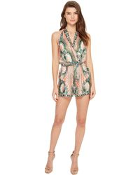Nicole Miller - La Plage By Tropical Peacock Silk Cover-up Romper - Lyst