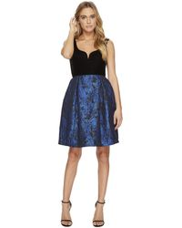 Donna Morgan - Sleeveless Fit And Flare With Velvet Top And Brocade Skirt - Lyst