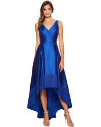Adrianna Papell - Sleeveless Mikado High-low Gown With Lace Border Hem - Lyst