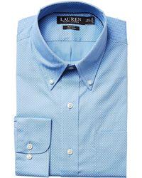 Lauren by Ralph Lauren - Slim Fit Non Iron Poplin Dot Print Spread Collar Dress Shirt - Lyst