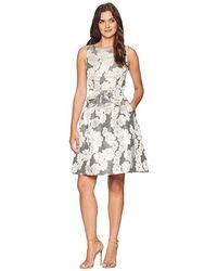 f8ed3716 Tahari Metallic Pleated Midi Dress (regular & Petite) in Metallic - Lyst
