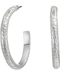 Lauren by Ralph Lauren - Croc Pattern Large Hoop Earrings - Lyst