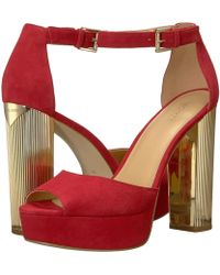 097a23510c0f Lyst - MICHAEL Michael Kors Paloma Suede Platform Dress Sandals in Red