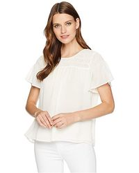 17708f3ade4d2c Vince Camuto - Ruffled Short Sleeve Smocked Blouse (antique White) Blouse -  Lyst
