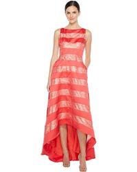 Adrianna Papell - Striped Lace & Mikado Hi-low Dress - Lyst