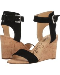 a378a16f80a Lyst - Sam Edelman Willow Suede Cork Wedge Sandal in Black