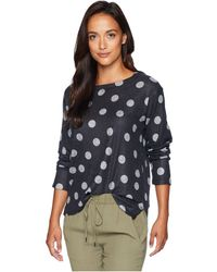 Nally & Millie - Long Sleeve Grey Polkadot Print Top - Lyst