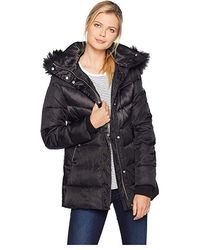 be297b022f229a Vince Camuto Faux-fur-trimmed Hooded Quilted Puffer Coat in Black - Lyst