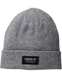 bc474919a10 Lyst - adidas Originals Logo Patch Beanie in Gray