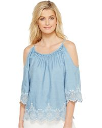 55715284753caf Lyst - Charlotte Russe Embroidered Cold Shoulder Blouse in White