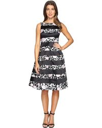 Adrianna Papell - Boatneck Fit & Flare Dress - Lyst