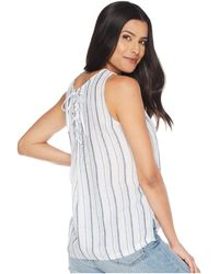 12cd430b414045 Lyst - Two By Vince Camuto Sleeveless Slub Stripe Side Lace-up Tank ...