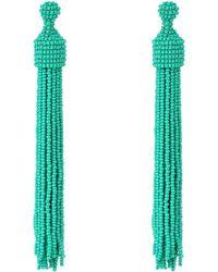 Kenneth Jay Lane - Turquoise Seed Bead Tassel Post Ear Earrings - Lyst