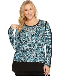 MICHAEL Michael Kors - Plus Size Big Cat Woven Combo Top - Lyst