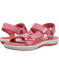 101bd5afc79b Lyst - Clarks Flat Pink Fabric Sandals in Pink