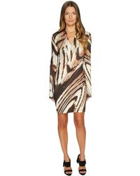 Just Cavalli - Distorted Dragon Fly Print Long Sleeve Jersey Dress - Lyst