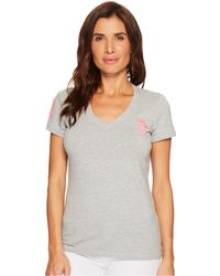 U.S. POLO ASSN.   V-neck Short Sleeve T-shirt With Big Pony And #3   Lyst