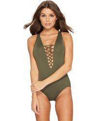 MICHAEL Michael Kors - Safari Solids Lace-up Cross-back One-piece Swimsuit W/ Tummy Control & Removable Soft Cups - Lyst
