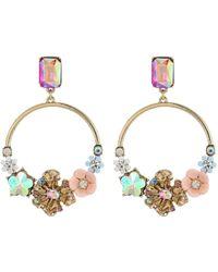 Betsey Johnson - Blooming Flower Hoop Earrings - Lyst