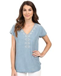 Mavi Jeans - Embroidered Denim V-neck Top - Lyst