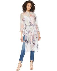 Vince Camuto - Long Sleeve Side Tie Diffused Bloom Long Tunic - Lyst